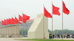 Chinese National Flag Tiananmen Square Beijing China Asia - stock footage