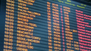 Stock Video Footage of Airport departures board