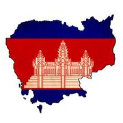 cambodia map on cambodia flag drawing ,grunge and retro flag series - stock illustration