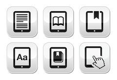 E-book reader, e-reader vector buttons set - stock illustration