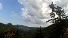4k Low mountain range Harz clouds timelapse Stock Footage