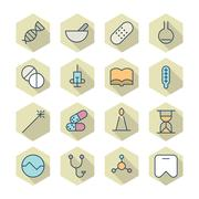 thin line icons for medical - stock illustration