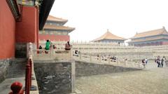 Forbidden City Tiananmen Square tourists Beijing China Asia - stock footage