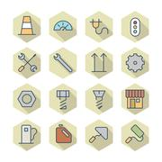 thin line icons for industrial - stock illustration