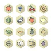 thin line icons for fruits - stock illustration