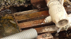 Water steam over pipes Stock Footage