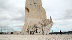 Discoveries Monument in Lisbon, Portugal. Stock Footage