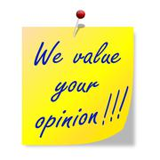 """The paper with the words """"we value your opinion""""  - stock illustration"""