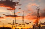 Stock Photo of Electric power station at sunrise