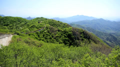 Landscape Great Wall of China forest disrepair Province Mutianyu - stock footage