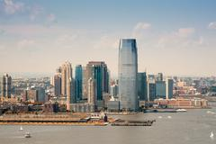 Helicopter view of Jersey City on a sunny day Stock Photos
