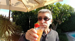 Slow Motion Video Of Funny Man Drinking Smoothie Stock Footage