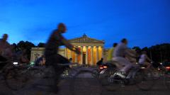 Riding Bicycle Bike at night Munich Bike night Radlnacht Stock Footage