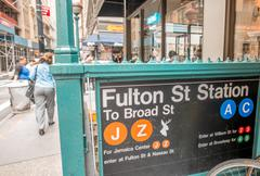 South Street Seaport Fulton Street Station Subway Entrance, New Stock Photos