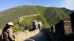 Landscape Great Wall of China arch Watchtower Mutianyu - stock footage