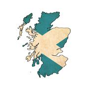 Stock Illustration of scotland  map on  flag drawing ,grunge and retro flag series