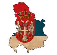 serbia map on  flag drawing ,grunge and retro flag series - stock illustration