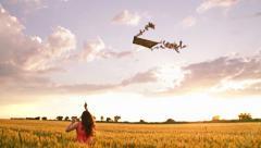 Kite Woman Running Summer Field Sunset Nature Sky Stock Footage