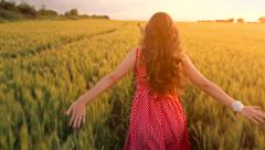 Young Woman Slow Motion Summer Dress Running Chasing Dreams Stock Footage