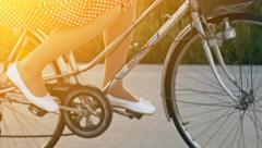 Happy Woman Riding Bicycle Summer Sunset Nature Outdoors Stock Footage