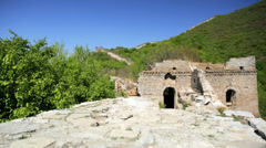 The Great Wall of China watchtower disrepair Mutianyu - stock footage