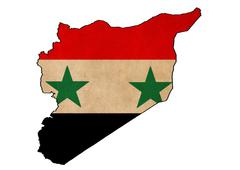 syria map on  flag drawing ,grunge and retro flag series - stock illustration