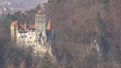 Closeup detail beautiful castle castel forest tree mountain hill dracula legend  Stock Footage