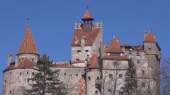 Closeup detail famous Dracula Castel architecture rock stone design touristic  Stock Footage