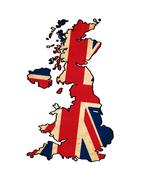 uk map on  flag drawing ,grunge and retro flag series - stock illustration