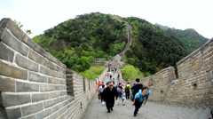 Landscape Great Wall of China structure Province Mutianyu - stock footage