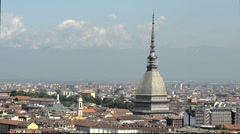 City of turin skyline panorama seen from the hill Stock Footage