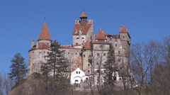 Beautiful Bran Castle Brasov Transylvania Dracula Legend scary excursion iconic  Stock Footage