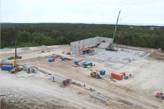Construction of a new sport facility in p18 in visby sweden Stock Photos