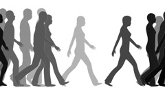 $Walking people, white background Stock Footage