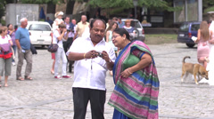 Indian tourists in town of love Sighnaghi - Georgia Stock Footage