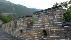 Landscape Great Wall of China no people Watchtower Mutianyu - stock footage