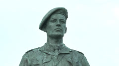 Philippe Kieffer statue above Sword beach, Ouistreham, Normandy, France. Stock Footage