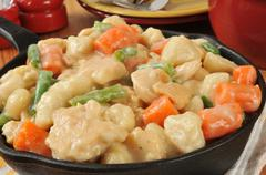 Cast Iron Skillet of Chicken and Dumplings - stock photo
