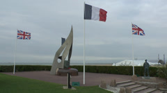 The Keiffer Flame Monument at Sword beach, Ouistreham, Normandy, France. Stock Footage