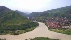 Mtskheta - Georgia beautiful city from a height panoramic Stock Footage