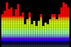 Stock Video Footage of Digital colorful music equalizer on black