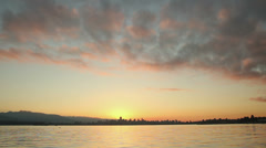 English Bay, Vancouver Cityscape Dawn Stock Footage