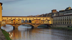 Ponte Vecchio and the Arno River in Florence, Tuscany, Italy - stock footage