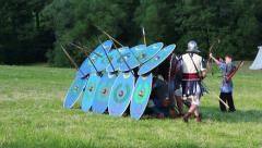 Roman soldiers are making shield wall, time lapse Stock Footage