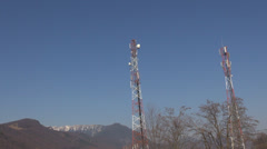 Power line energy antenna cable receiver signal watt pole network stream energy  Stock Footage