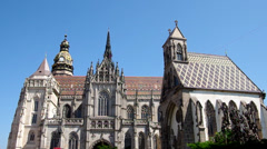 Cathedral of Saint Elizabeth and the main square in Kosice, Slovakia Stock Footage