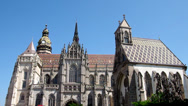 Stock Video Footage of Cathedral of Saint Elizabeth and the main square in Kosice, Slovakia