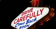 Drive Carefully Las Vegas sign 4k Stock Footage