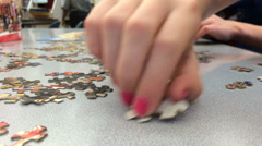 Library puzzle building with kids Stock Footage