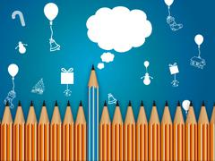 Stock Illustration of pencil with speech bubble, celebration background